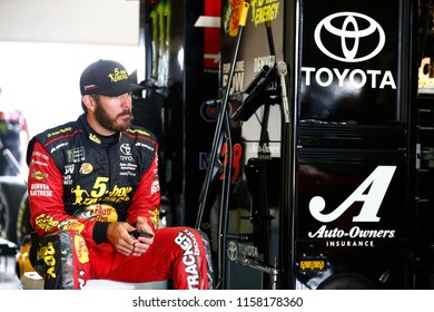 August 10, 2018 - Brooklyn, Michigan, USA: Martin Truex, Jr (78) hangs out in the garage during practice for the Consumers Energy 400 at Michigan International Speedway in Brooklyn, Michigan.