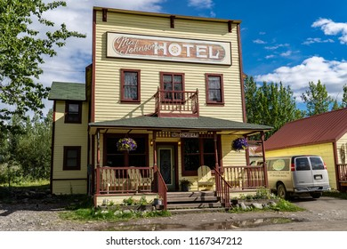 AUGUST 10 2018 - McCarthy, Alaska: The historic Ma Johnson Hotel on a sunny day in the old town of McCarthy in Wrangell-St. Elias National Park and is considered an historic inn and living museum