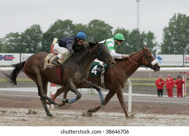 MALMÖ - AUGUST 10: Horse number 4 Simian and jockey J. Neuroth wins over Hermion and L. Hammer at race 6 in the Swedish Derby at the Jägersro race track on august 10, 2008 in Malmo, Sweden.