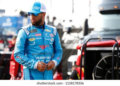 August 11, 2018 - Brooklyn, Michigan, USA: Darrell Wallace, Jr (43) hangs out in the garage during practice for the Consumers Energy 400 at Michigan International Speedway in Brooklyn, Michigan.