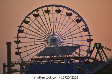 August 11, 2019. Panoramic view of the Pacific Wheel at Santa Monica Amusement Park, California USA.