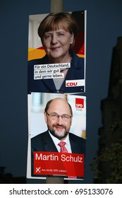 AUGUST 12, 2017 - BERLIN: election posters of the German Chancellor Angela Merkel (CDU) and her challenger, Martin Schulz (SPD), in the upcoming elections, Berlin.