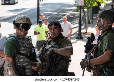 August 12, 2017 Charlottesville, Virginia USA  Militia peacekeepers armed with assault rifles demonstrating the right to bare arms fourth amendment at the Unite the Right rally