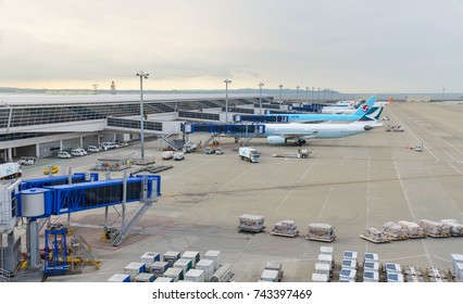 August 12, 2017 : Chubu Centrair International Airport in Aichi, Japan,view from observation deck-Many airline's airplane is parking waiting for their passenger in Chubu Centrair International Airport