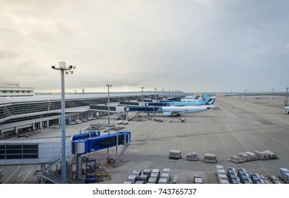 August 12, 2017 : Chubu Centrair International Airport in Aichi, Japan, view from observation deck - Many airline's airplane is parking waiting for their passenger in the Chubu International Airport