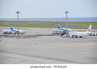 August 12, 2017 : Chubu Centrair International Airport in Aichi, Japan, Many airline's airplane is parking waiting for their passenger in the Chubu Centrair International Airport