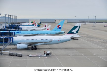 August 12, 2017 : Chubu Centrair International Airport in Aichi, Japan, MAny airline's airplane is parking waiting for their passenger in the airport