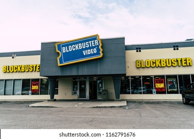 AUGUST 12 2018 - FAIRBANKS ALASKA: Exterior view of one of the last remaining Blockbuster Video rental stores in the United States. Blockbuster movie rental stores are going out of business
