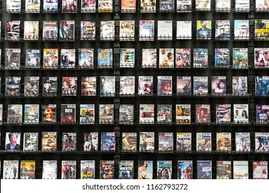 AUGUST 12 2018 - FAIRBANKS ALASKA: Rows of DVD rental movies for sale at a going out of business Blockbuster Video store