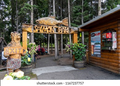 AUGUST 12 2018 - FAIRBANKS, ALASKA: The famous Fairbanks Salmon Bake is held nightly in Pioneer Park and features a seafood and meat buffet for locals and tourists during the summer months