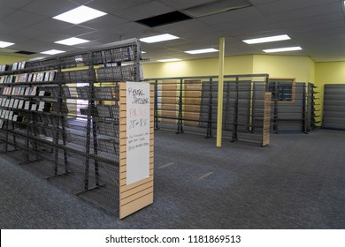 AUGUST 12 2018 - FAIRBANKS, ALASKA: Rental shelving fixtures for sale inside of a Blockbuster Video, during a store closing liquidation sale