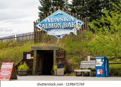 AUGUST 12 2018 - FAIRBANKS ALASKA: Sign for the Alaskan Salmon Bake in Pioneer Park, a nightly buffet serving fish and other food during summer