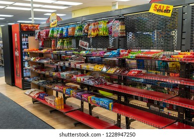 AUGUST 12 2018 - FAIRBANKS ALASKA: Snacks and candy aisle display inside of a closing Blockbuster video in its final liquidation days.
