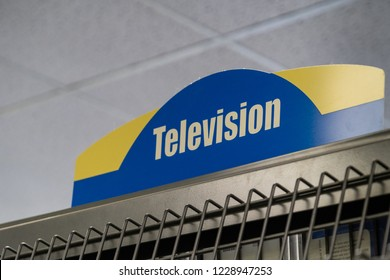 AUGUST 12 2018 - FAIRBANKS ALASKA: Signage for the Television DVD series and sets inside of a closing Blockbuster video in its final liquidation days.