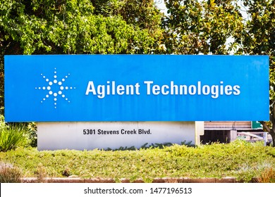 August 12, 2019 Santa Clara / CA / USA - Agilent Technologies sign at their HQ  in Silicon Valley; Agilent Technologies, Inc. is an American public research, development and manufacturing company
