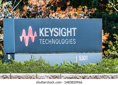 August 12, 2019 Santa Clara / CA / USA - Keysight Technologies sign at the Company's campus in Silicon Valley; Keysight manufactures test and measurement equipment and software for electronics