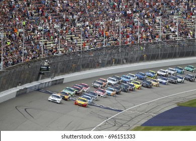 August 13, 2017 - Brooklyn, Michigan, USA: Brad Keselowski (2) takes the green flag for the Pure Michigan 400 at Michigan International Speedway in Brooklyn, Michigan.