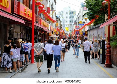 August 13, 2017 Busan, Korea: Busan Chinatown is a famous tourist destination in Busan. It is a place where many tourists visit.