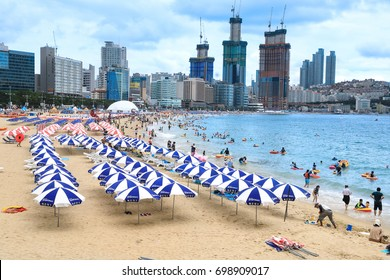 August 13, 2017 Haeundae Beach, Busan, Korea: Haeundae Beach belongs to the three major beaches in Korea. It is the representative tourist attraction of Busan which many tourists visit every year.