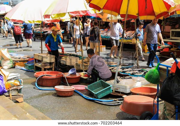 August 13, 2017, Jagalchi Fish Market, Busan City, Korea: Jagalchi Fish Market is a famous sightseeing spot in Busan and a traditional market. Many tourists visit here
