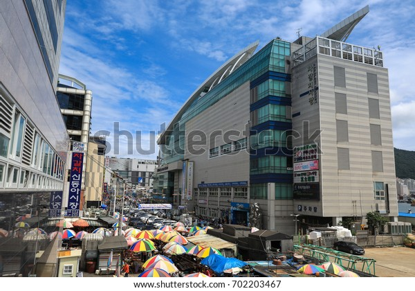 August 13, 2017, Jagalchi Fish Market, Busan City, Korea: Jagalchi Fish Market is a famous sightseeing spot in Busan and a traditional market. Many tourists visit here.