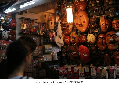 August 13, 2017. Wooden Hahoe Mask is a Korean traditional mask.  Can be bought at Insadong street in Seoul, South of Korea.