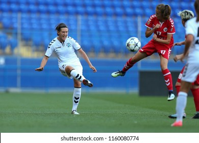 AUGUST 13, 2018 - KHARKIV, UKRAINE: Zhanna Sanina shoots the ball performing long lofted pass into penalty box. UEFA Women's Champions League. WFC Kharkiv - Olimpia Cluj.