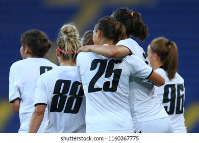 AUGUST 13, 2018 - KHARKIV, UKRAINE: WFC Kharkiv players happiness celebrating scored goal in energetic circle. UEFA Women's Champions League. WFC Kharkiv - Olimpia Cluj.