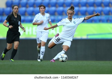 AUGUST 13, 2018 - KHARKIV, UKRAINE: Powerful, spectacular shot on goal by Yuliia Shevchuk. UEFA Women's Champions League. WFC Kharkiv - Olimpia Cluj.