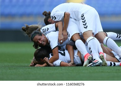 AUGUST 13, 2018 - KHARKIV, UKRAINE: Nadiia Kunina celebrates game winning goal with teammates. UEFA Women's Champions League. WFC Kharkiv - Olimpia Cluj.
