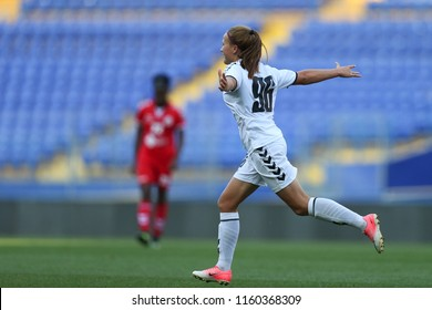 AUGUST 13, 2018 - KHARKIV, UKRAINE: Nadiia Kunina celebrates game winning goal with powerful, spectacular shot. UEFA Women's Champions League. WFC Kharkiv - Olimpia Cluj.
