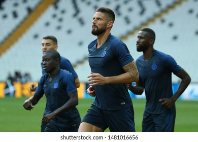 AUGUST 13, 2019 - ISTANBUL, TURKEY: Olivier Giroud close-up portrait. Chelsea FC players running warming up on the field. 2019 UEFA Super Cup. Chelsea FC pre-match open training