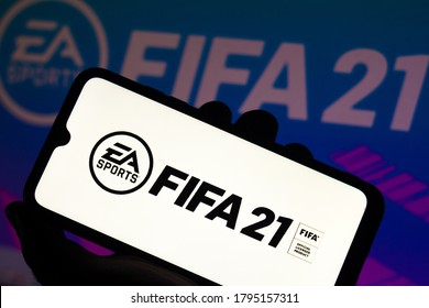 August 13, 2020, Brazil. In this photo illustration the FIFA 21 logo is displayed on a smartphone