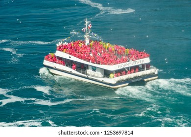 August 14 2015 - Niagara Falls on the Lake , Ontario Canada - Niagara Falls tourist boats approaching the Falls