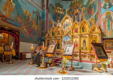 August 14, 2016. Interior of Russian orthodox cathedral of the Nativity of Christ in Riga, Latvia.