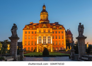 August 14, 2017. Majestic Baroque Ksiaz Castle at twilight, Hochbergs residence, Lower Silesia, Poland, Europe.