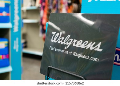 August 14, 2018 Sunnyvale / CA / USA - Walgreens logo displayed inside one of their locations in south San Francisco bay area