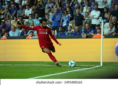 AUGUST 14, 2019 - ISTANBUL, TURKEY: Spectacular powerful shot by Mo Mohamed Salah Hamed Mahrous Ghaly of Liverpool. Performs corner kick set piece shot. UEFA Super Cup Liverpool - Chelsea