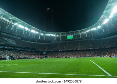 AUGUST 14, 2019 - ISTANBUL, TURKEY: Vodafone Park full crowded stadium beautiful amazing picturesque panoramic wide angle interior view during the 2019 UEFA Super Cup Liverpool - Chelsea match