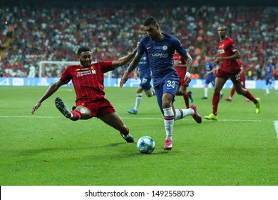 AUGUST 14, 2019 - ISTANBUL, TURKEY: Emerson Palmieri dos Santos runs with the ball on terrific fast speed using spectacular beautiful dribbling from sliding tackle by Joel Matip. Liverpool - Chelsea