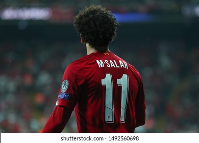 AUGUST 14, 2019 - ISTANBUL, TURKEY: Mo Mohamed Salah Hamed Mahrous Ghaly. Superstar striker of Liverpool beautiful close-up portrait. View from the back in red shirt with number 11 (eleven)