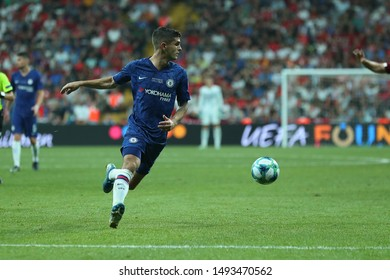 AUGUST 14, 2019 - ISTANBUL, TURKEY: Christian Pulisic runs on fast speed and dribbles the ball with spectacular beautiful moves. UEFA Super Cup Liverpool - Chelsea