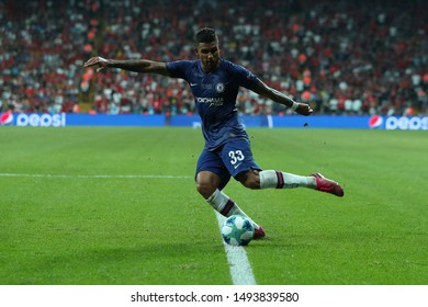 AUGUST 14, 2019 - ISTANBUL, TURKEY: Emerson Palmieri dos Santos beautiful portrait with the ball, runs and dribbles on terrific fast speed and shoots the ball. UEFA Super Cup Liverpool - Chelsea