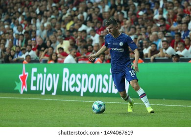 AUGUST 14, 2019 - ISTANBUL, TURKEY: Mason Mount beautiful portrait runs and dribbles with the ball. UEFA Super Cup Liverpool - Chelsea