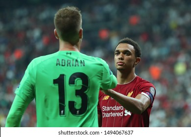AUGUST 14, 2019 - ISTANBUL, TURKEY: Trent Alexander-Arnold beautiful close-up portrait after scored goal from the penalty spot. UEFA Super Cup Liverpool - Chelsea penalty shoot-out
