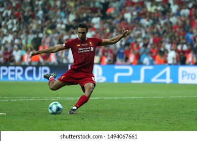 AUGUST 14, 2019 - ISTANBUL, TURKEY: Trent Alexander-Arnold shoots and scores a goal from the penalty spot. UEFA Super Cup Liverpool - Chelsea penalty shoot-out