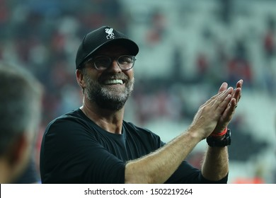 AUGUST 14, 2019 - ISTANBUL, TURKEY: Head coach Jurgen Klopp beautiful close-up portrait. Players of Liverpool FC celebrate UEFA Super Cup trophy victory. Moments of joy, smiles, cheer, happy emotions