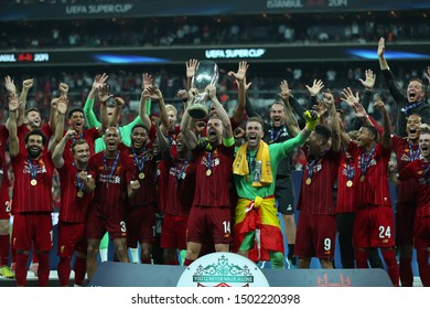 AUGUST 14, 2019 - ISTANBUL, TURKEY: Jordan Henderson portrait with UEFA Super Cup trophy. Players of Liverpool FC on the podium celebrate the victory. Moments of joy, cheer, happy emotions