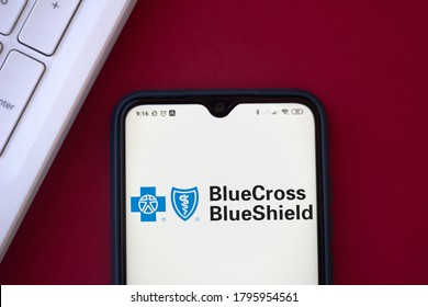 August 14, 2020, Brazil. In this photo illustration the Blue Cross Blue Shield Association logo seen displayed on a smartphone