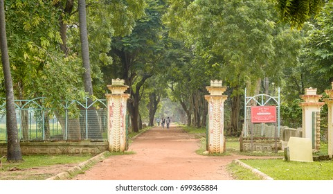 August 14,2017, Bolpur , West Bengal, India. The beautiful unpaved road with canopy of trees  in Visva - Bharati University at Shantiniketan.